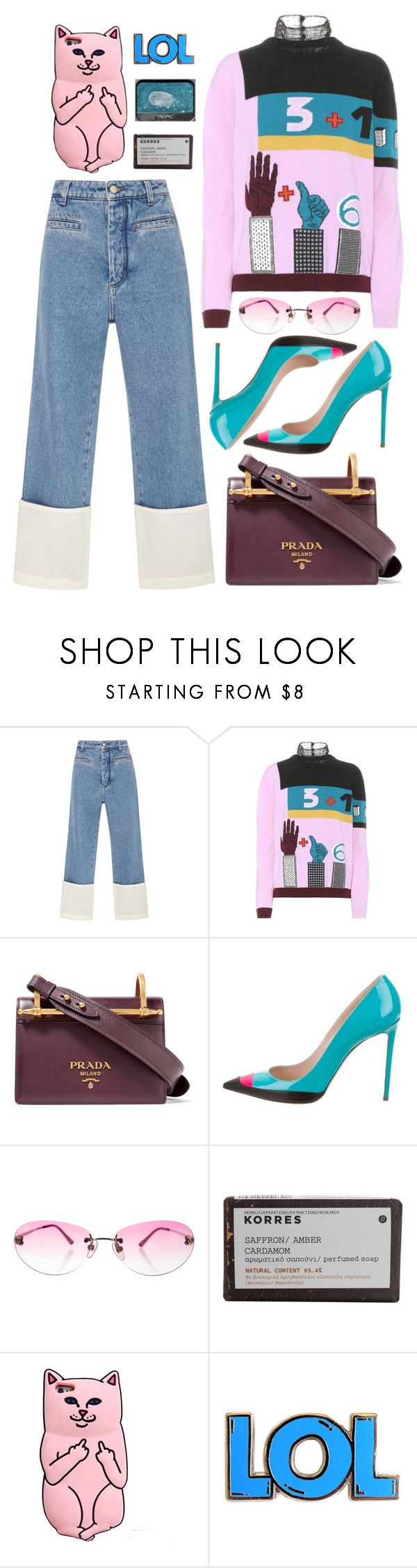"""We walk the plank with our eyes wide open"" by emmaadv ❤ liked on Polyvore featuring Loewe, Valentino, Prada, Ruthie Davis, Chanel and Korres"
