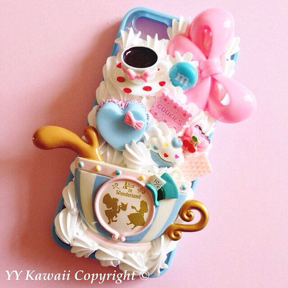 Alice in Wonderland inspired Kawaii Decoden Phone case for IPhone 4/4s 5 Samsung Galaxy S2 S3 S4 Mini Ace and other