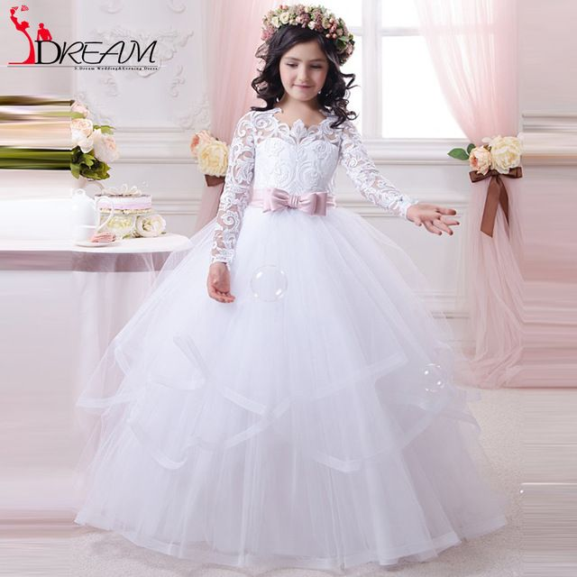 Find More Flower Girl Dresses Information about Princess Lace Flower Girls Dresses 2016 Long Sleeve Ball Gown Tulle 2016 Cheap First Communion Dresses with Pink Sash,High Quality dresses only,China dress thanksgiving Suppliers, Cheap dress extension from Orenda Wedding Dress Factory on Aliexpress.com