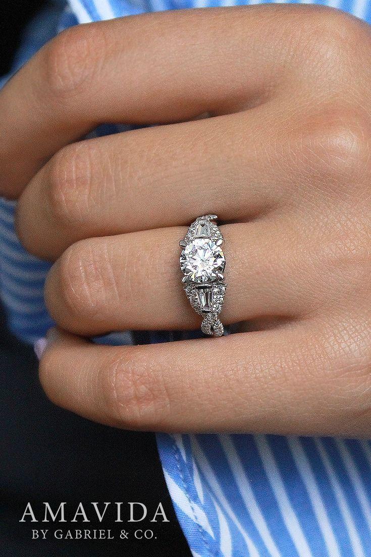 Vintage 18k White Gold Round Art Deco Diamond Engagement Ring   Er13967r6w83jj