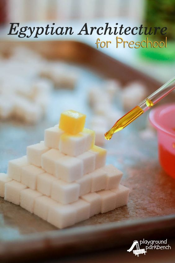 No study of Architecture and Engineering for kids of any age would be complete without a study of Egyptian architecture and the pyramids.  See our preschool pyramid activity, a great fine motor skill challenge   STEM   STEAM   Engineering for Kids   Egypt   Preschool  