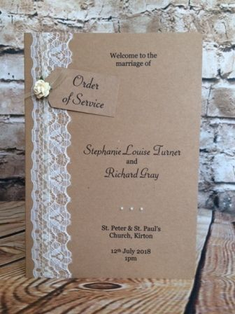 """""""Vintage Lace"""" Order of Service / Order of the Day, £3.55 …"""