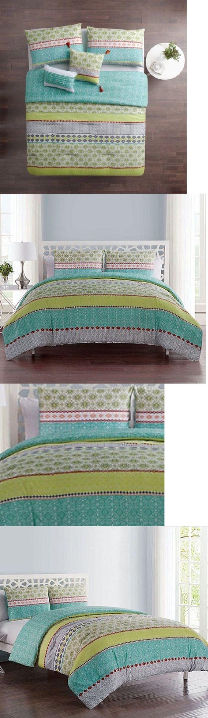 Blue and brown bedding for girls - Bedding Sets 66731 Boho Comforter Set Full Queen Bedding Aqua Lime Green Blue Decor Kid