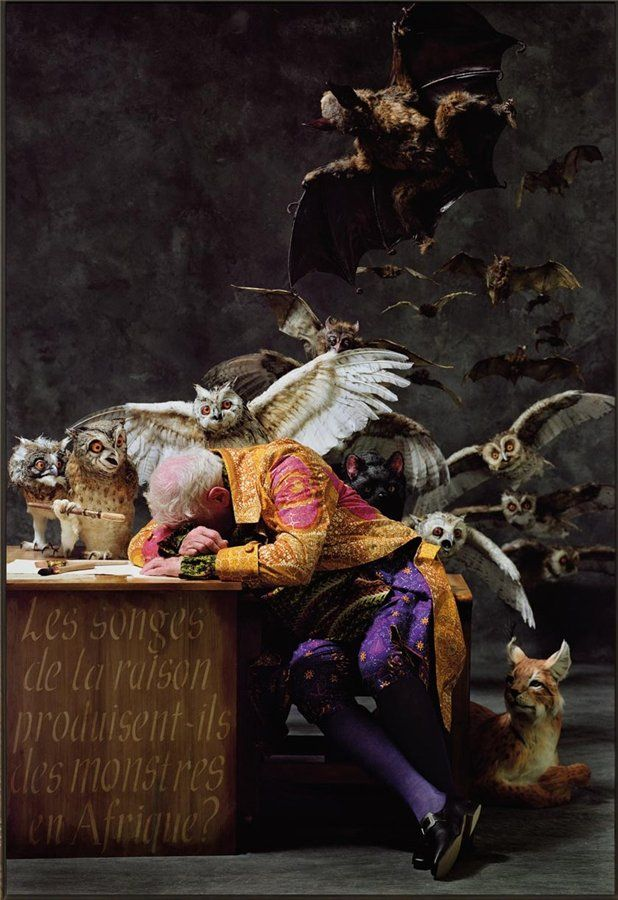 "Yinka Shonibare's updated version of ""The Sleep of Reason Produces Monsters"" by Francisco de Goya"