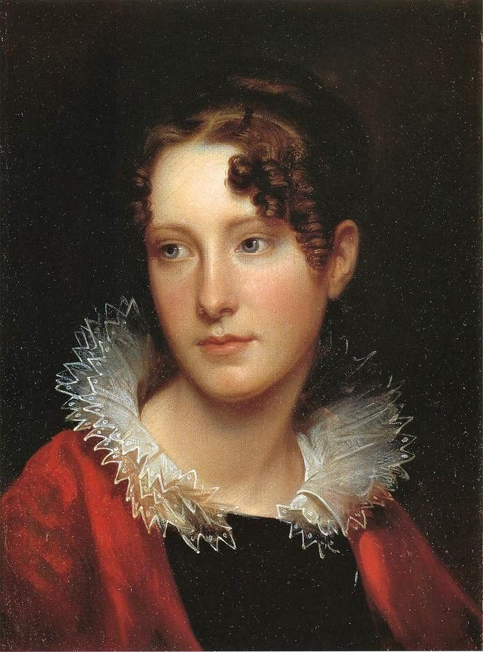 Rembrandt Peale (American painter, 1778-1860) Rosalba Peale 1820    Rembrandt & his wife Eleanor May Short had 9 children: Rosalba, Eleanor, Sarah Miriam, Michael Angelo, & Emma Clara among them.  He taught his children to paint, just as his father taught him.  And he painted their portraits.