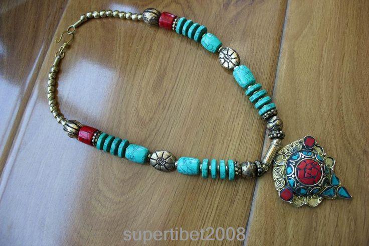 NK192 Nepal India Jewelry Tibetan Brass Colorful Stone Flower Pendant Necklace #Tangula