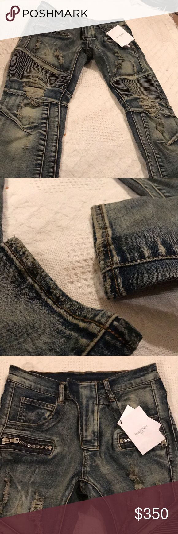 Balmain biker jeans Size 30 Balmain Biker Jeans Size 30 Partially Distressed Balmain Jeans Skinny