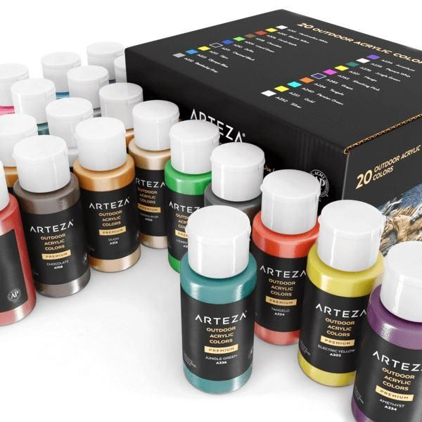 Outdoor Acrylic Paint 59ml Bottles Set Of 20 Outdoor Acrylic Paint Arteza Acrylic Paint Set