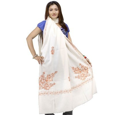 Off White Hand #Embroidered Pure Woolen Shawl-108