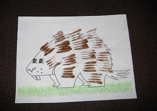 Porcupine. Decorated with plastic fork tines.