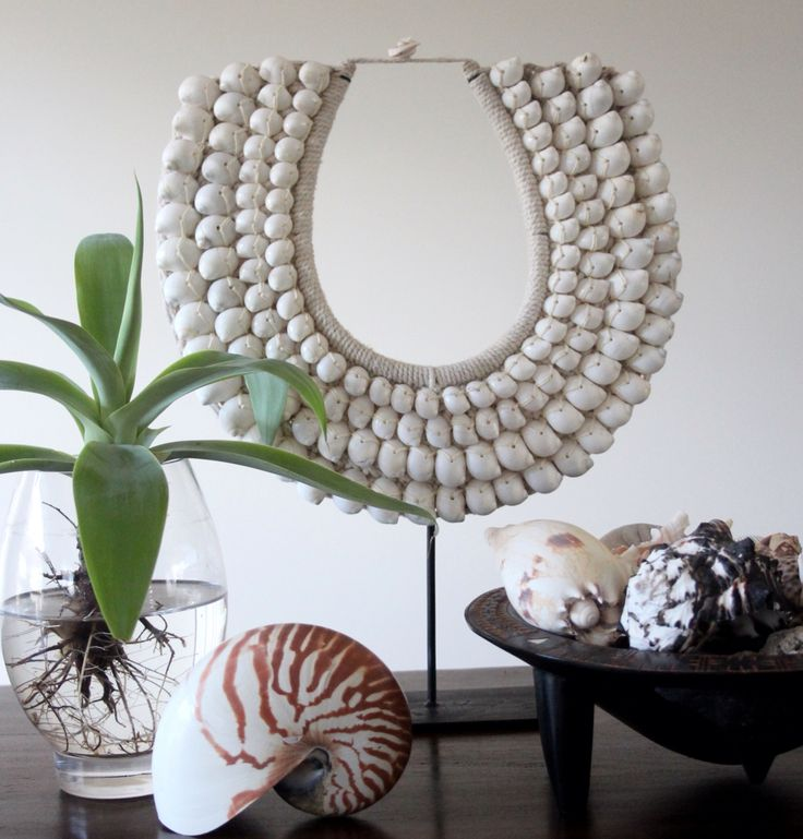 Coastal styling inspiration ~ Gorgeous Tribal Necklace with some shells collection. Styled & Photographed by Annette of HHInteriors.