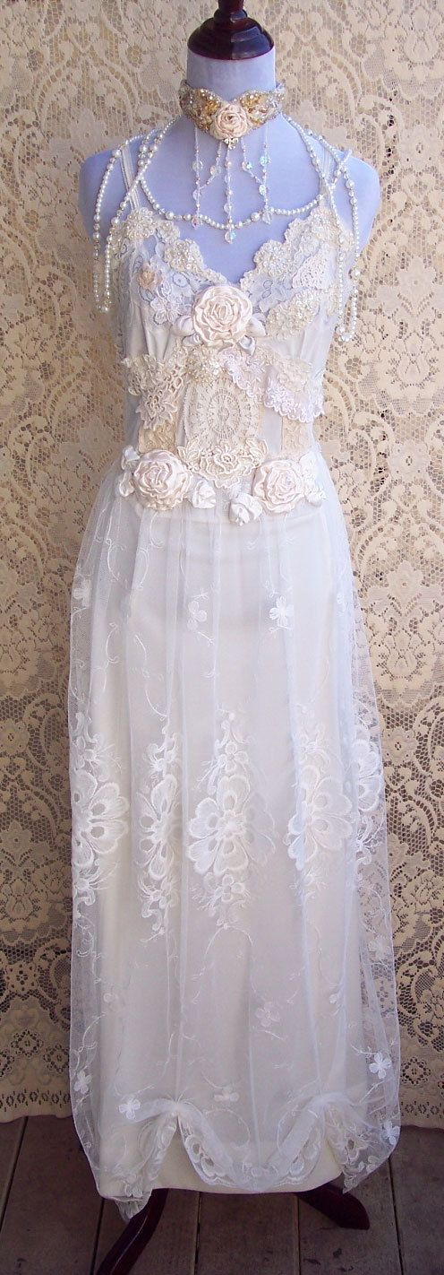 French Vintage Lingerie Wedding Gown Italian by roselanijasmin