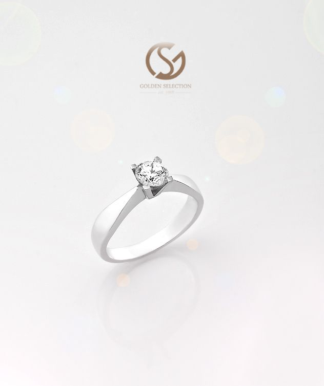 Brilliant-cut ''Solitaire'' Ring 18K White-gold