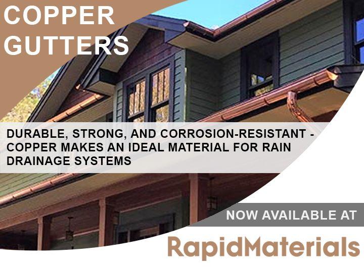 Copper Gutters Rapidmaterials Half Round Gutters Connectors More Copper Gutters Gutters Drainage