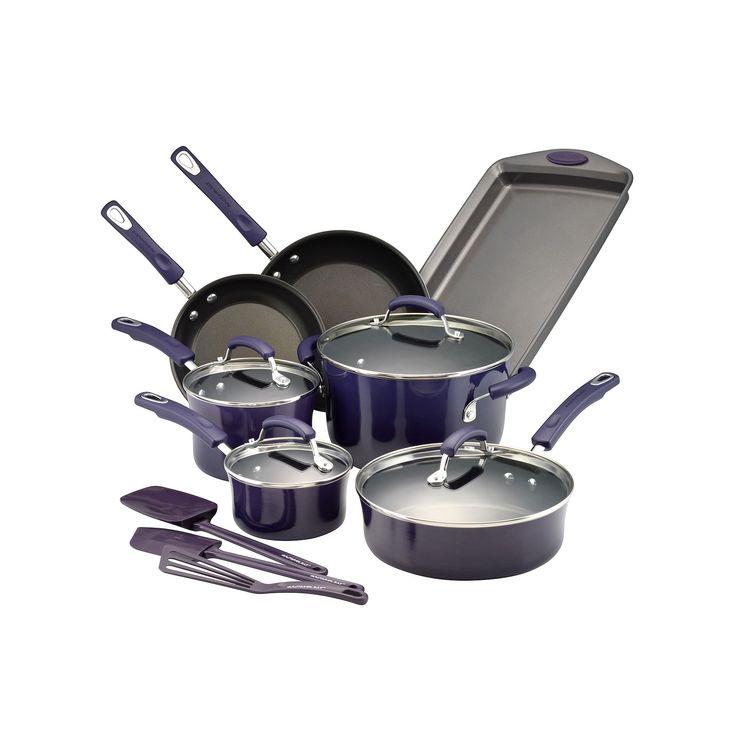 Rachael Ray Brights 14-pc. Nonstick Cookware Set, Purple