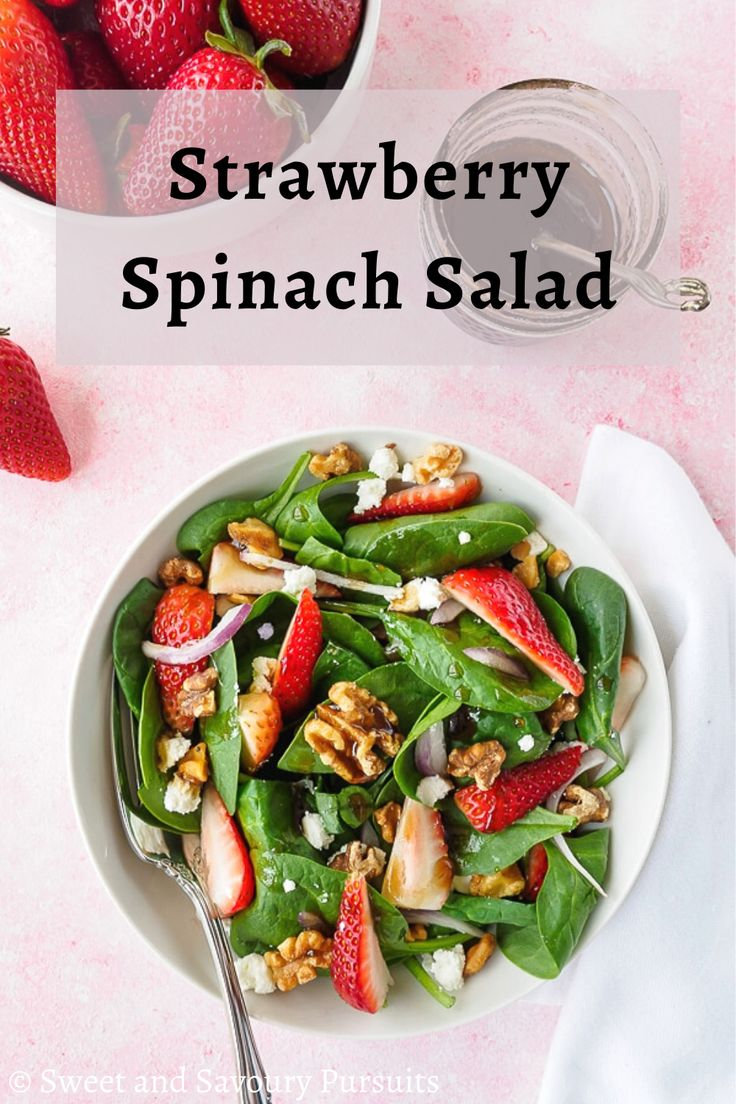 This quick and easy Strawberry Spinach Salad made with a balsamic vinaigrette is a healthy and light dish perfect for su…