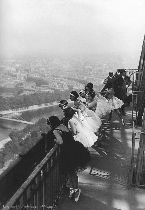 mimbeau: Dancers on the Eiffel Tower Paris 1929 (Keystone) ballerina