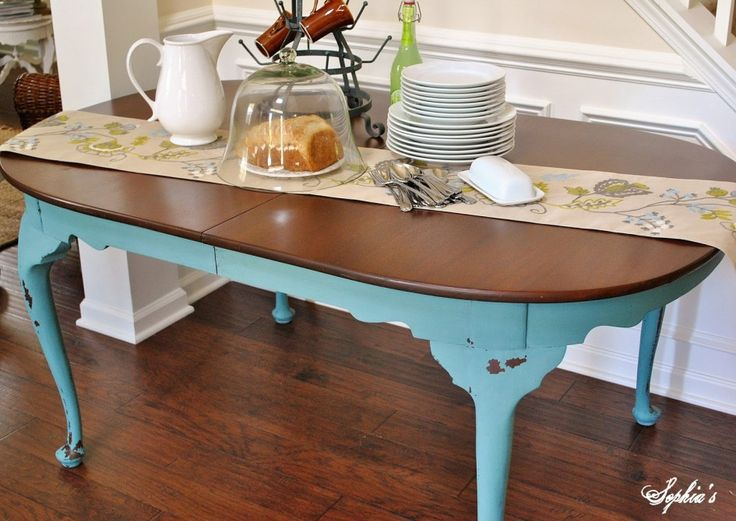 Dining room pretty two toned painted dining table natural for Teal dining room table
