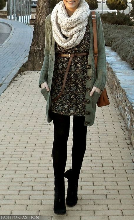 A super basic and easy way to wear your sundress in the winter is to add a long cardigan, a chunky knit scarf, tights and ankle boots.