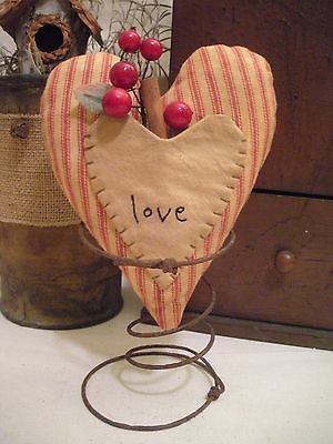 Primitive Heart Ticking Rusty Spring Make Do Decoration