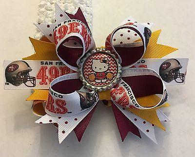 San Francisco 49ers Cheerleader Inspired Bottle Cap Hair Bow 49ers Womans Girls