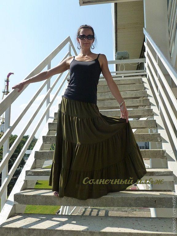 Купить Длинная шёлковая юбка - юбка, летняя одежда, шелк, длинная юбка, цыганская юбка