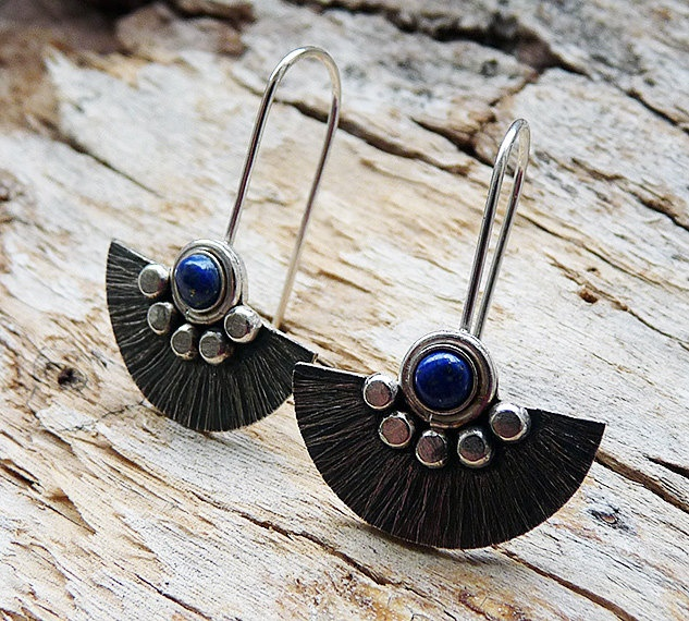Sterling Silver Earrings with Lapis Lazuli. £27.00, via Etsy.: Sterling Silver Earrings, 27 00, Etsy Fave, Handcrafted Jewelry, Leather Sterling Silver, Etsy Finding, Etsy Treasuri, Etsy Marketplac, Handmade Jewelry