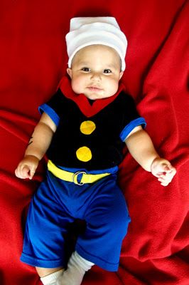popeye costume with anchor tattoos on his arms