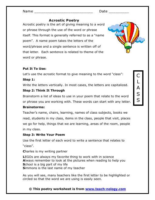 Writing Acrostic Poetry Acrostic Poetry Worksheets Acrostic Poem