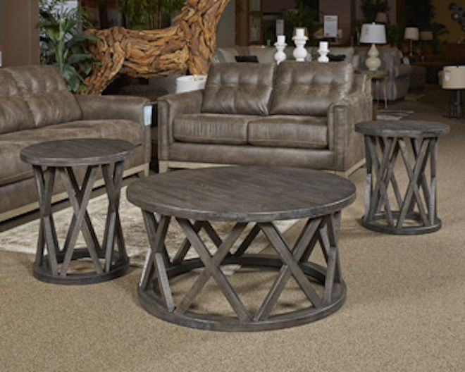 T711 8 Sharzane By Ashley Round Cocktail Table In Grayish Brown
