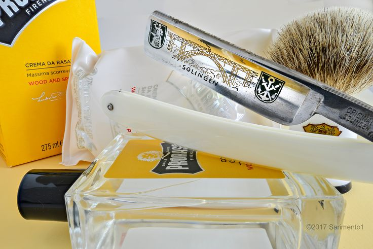 """Proraso wood and spice shave cream and cologne, Rooney badger brush, Schulze 5/8"""" shortened """"Monday"""" straight razor, July 10, 2017. ©Sarimento1"""