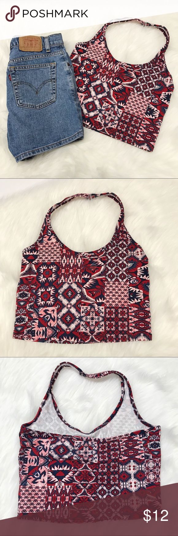 """Aeropostale Halter Crop Top Super cool halter crop top from Aeropostale! Handkerchief print that's perfect for summer. New with tags, never worn. Comes from a smoke and pet free home. Measurements taken laid flat: 14 1/2"""" bust. 14 1/2"""" waist. 18"""" long. Aeropostale Tops Crop Tops"""