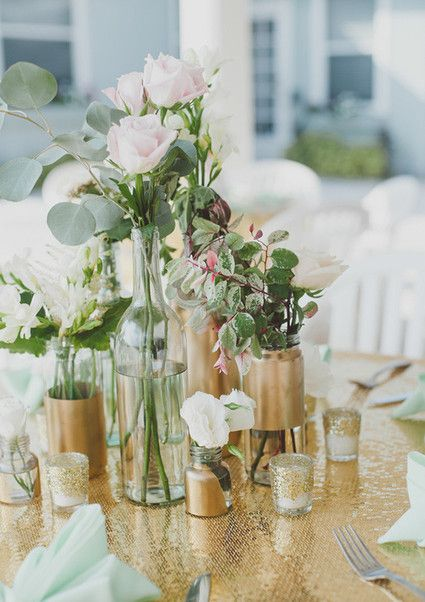 Exceptional Gold And Mint Wedding Decor