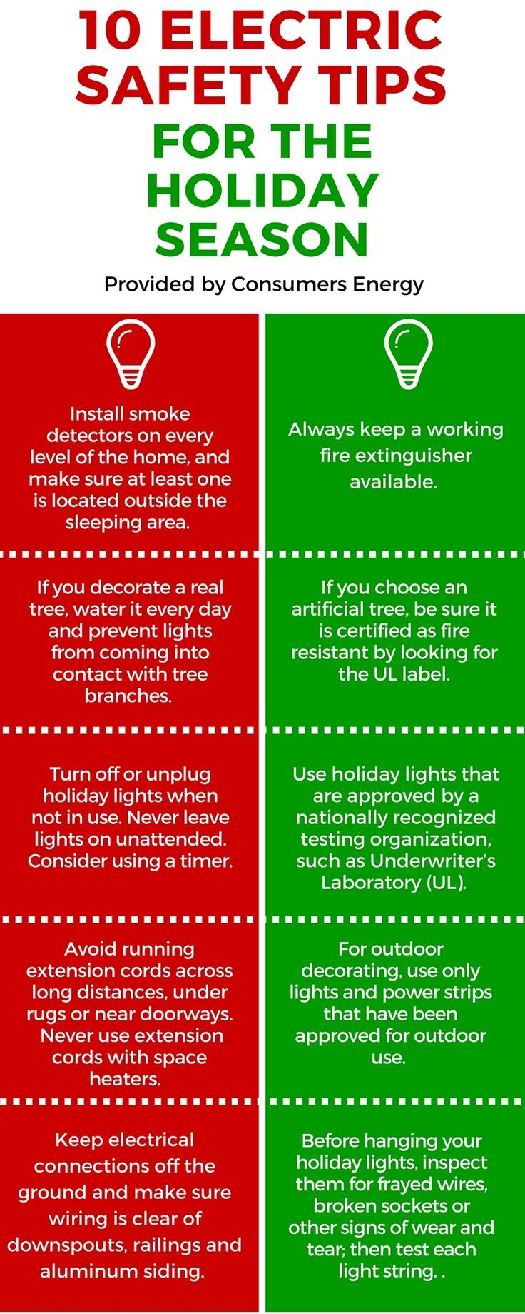 Consumers Energy offers 10 Electric Safety Tips to keep you and your family safe during the holiday season!