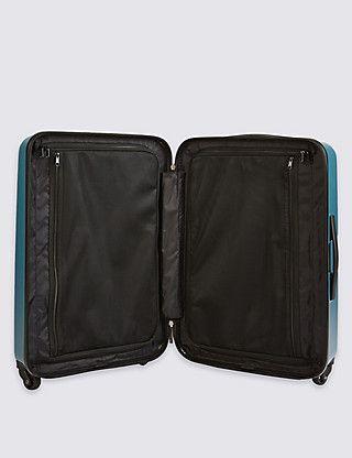 4-Wheel Hard Suitcase with Security Zip & Lock in Medium | M&S // 66cm x 44cm x 26.5cm. 4kg, 67L