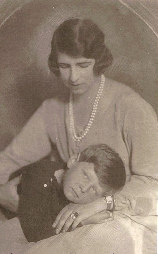 """""""Regina mama"""" Elena of Romania with son, King Mihail ."""