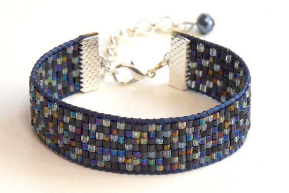 Bead loom dark blue bracelet by NiceBraceletStudio on Etsy