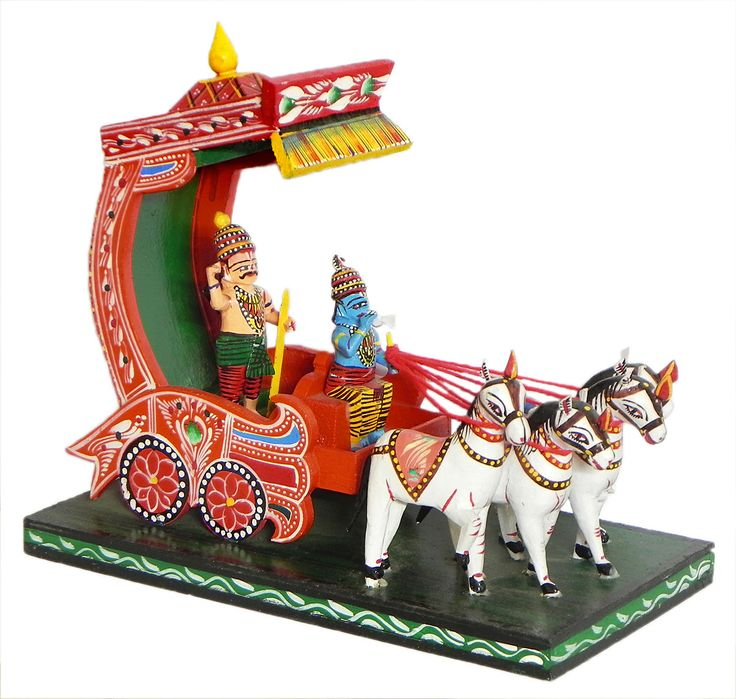 Krishna and Arjuna on a Chariot during Kurukshetra War in Mahabharata - Kondapalli Doll (Wood)