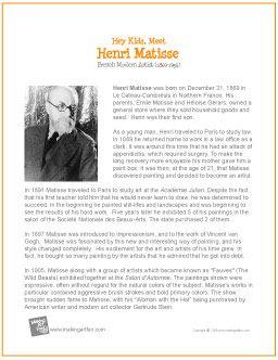 Hey Kids, Meet Henri Matisse | Printable Biography - http://makingartfun.com/htm/f-maf-printit/henri-matisse-print-it-biography.htm