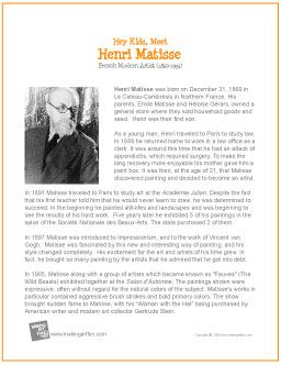 Hey Kids, Meet Henri Matisse | Printable Biography - http://makingartfun.com/htm/f-maf-printit/henri-matisse-print-it-biography.htm