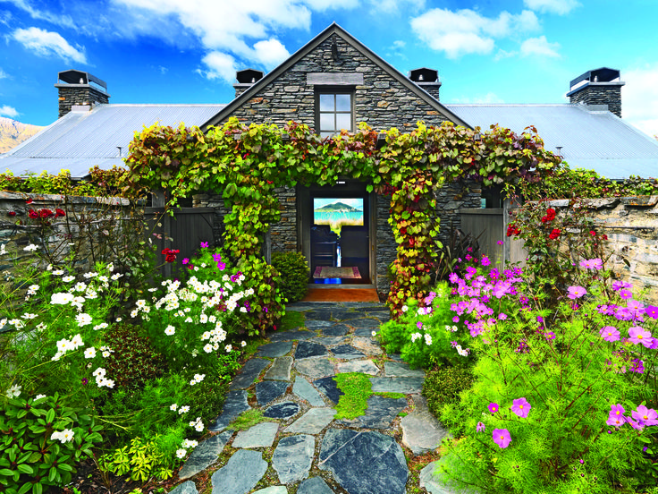 Springtime entry into a Blanket Bay Chalet Suite, Glenorchy, New Zealand