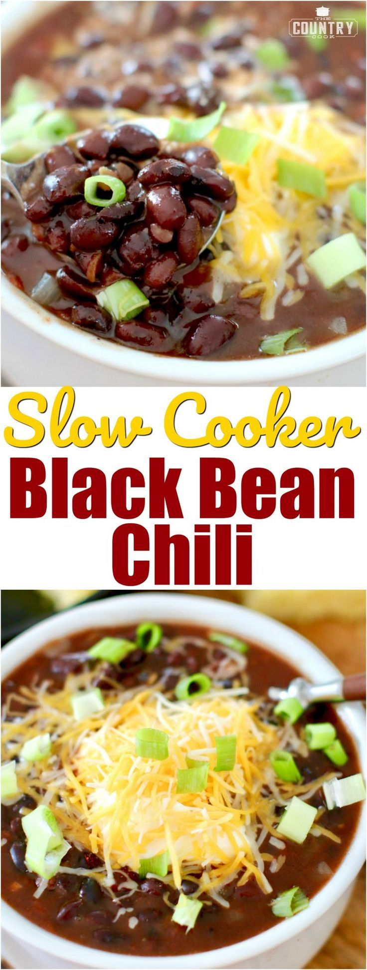 Crock Pot Black Bean Chili recipe from The Country Cook and BUSH'S Beans! #ad #slowcooker #crockpot #dinner #meatlessmondays