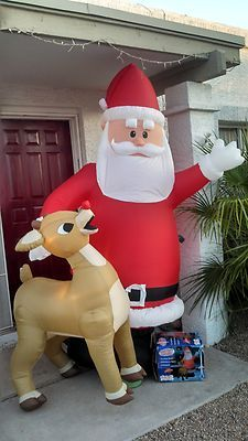 8 Foot Rudolph The Red Nosed Reindeer And Santa Claus Airblown Inflatable |  EBay
