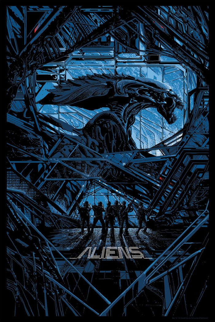 "Aliens alternative movie poster by Killian Eng Movie Synopsis: ""The planet from Alien (1979) has been colonized, but contact is lost. This time, the rescue team has impressive firepower, but will it be enough?""  More Killian Eng AMPs: Killian Eng  Artists Website: http://dwdesign.tumblr.com/"