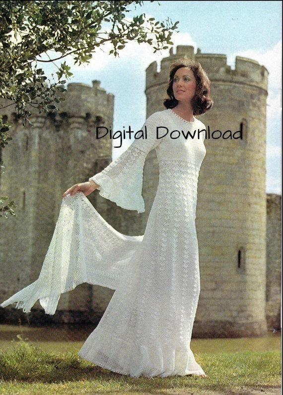 Crochet Wedding Dress Pattern Vintage Romantic Hippie Boho Bell