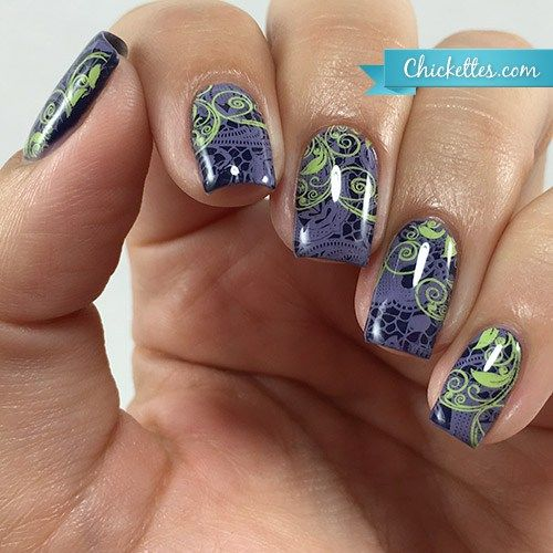 Layered Nail Art Stamping from Chickettes.com