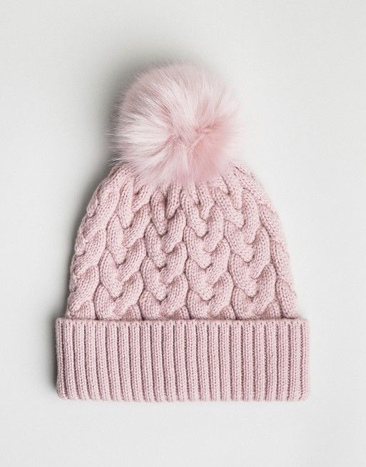 e82cd245745 ASOS DESIGN cable faux fur pom beanie In recycled polyester