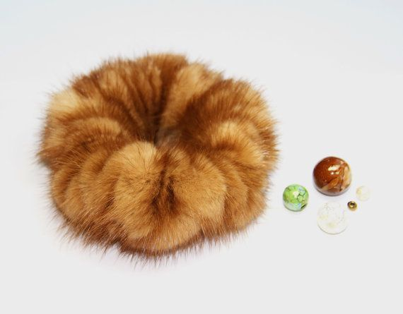 Natural Fur Gold Scrunchy by HandMadeFurU on Etsy