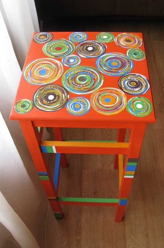 Good Painted Orange Table With Colorful Swirly Circles