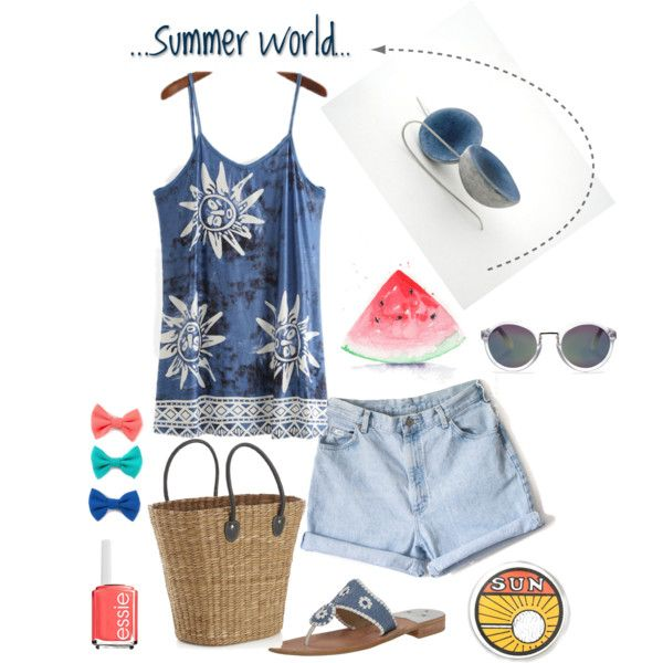 Summer world by antigoni-pagali on Polyvore featuring Jack Rogers, Crate and Barrel, Whistles and Essie